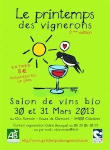Le Printemps des Vignerons : (petit) salon de vins bio à CABRIERES(34) - 30 et 31 mars dans Cabrières en Languedoc recto-220x300