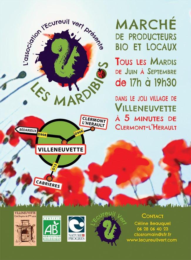 Un rendez-vous bio tous les mardis soirs de juin à septembre à Villeneuvette dans Cabrières en Languedoc flyermardibios051